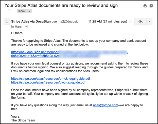 Stripe Atlas welcome email